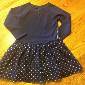 Navy dress with sparkle dot tulle over-skirt
